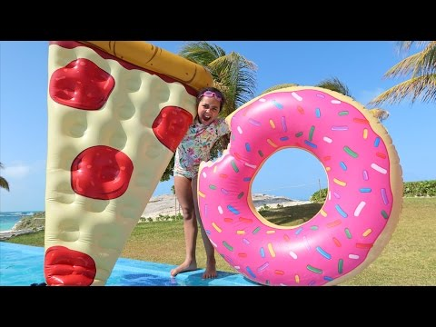 Thumbnail: GIANT DONUT VS GIANT PIZZA! Pool Party Toy Challenge - Shopkins Surprise Eggs - Toy Opening