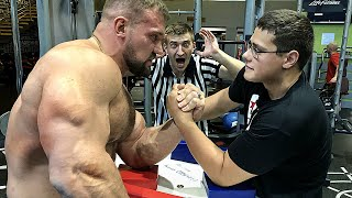 SCHOOLBOY VS RUSSIAN GIANT KIRILL SARYCHEV | ARM WRESTLING