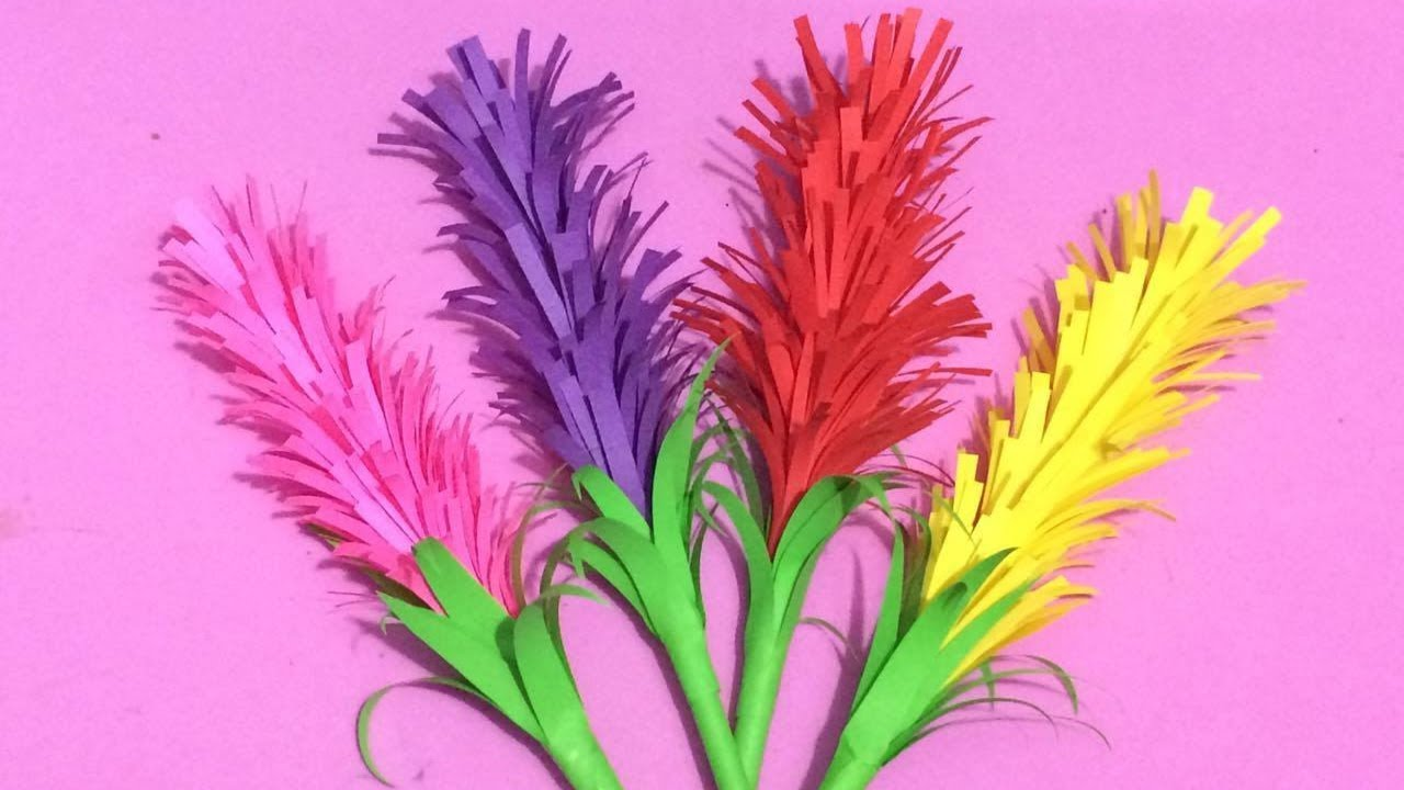 How to make lavender flower with color paper making paper flowers how to make lavender flower with color paper making paper flowers step by step diy paper crafts mightylinksfo
