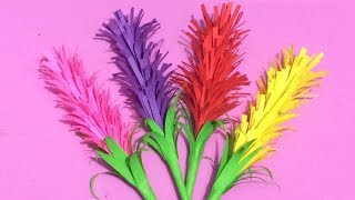 How to Make Lavender Flower with Color Paper   Making Paper Flowers Step by Step   DIY-Paper Crafts