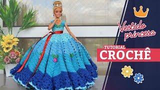 Baixar Vestido Princesa de crochê para boneca