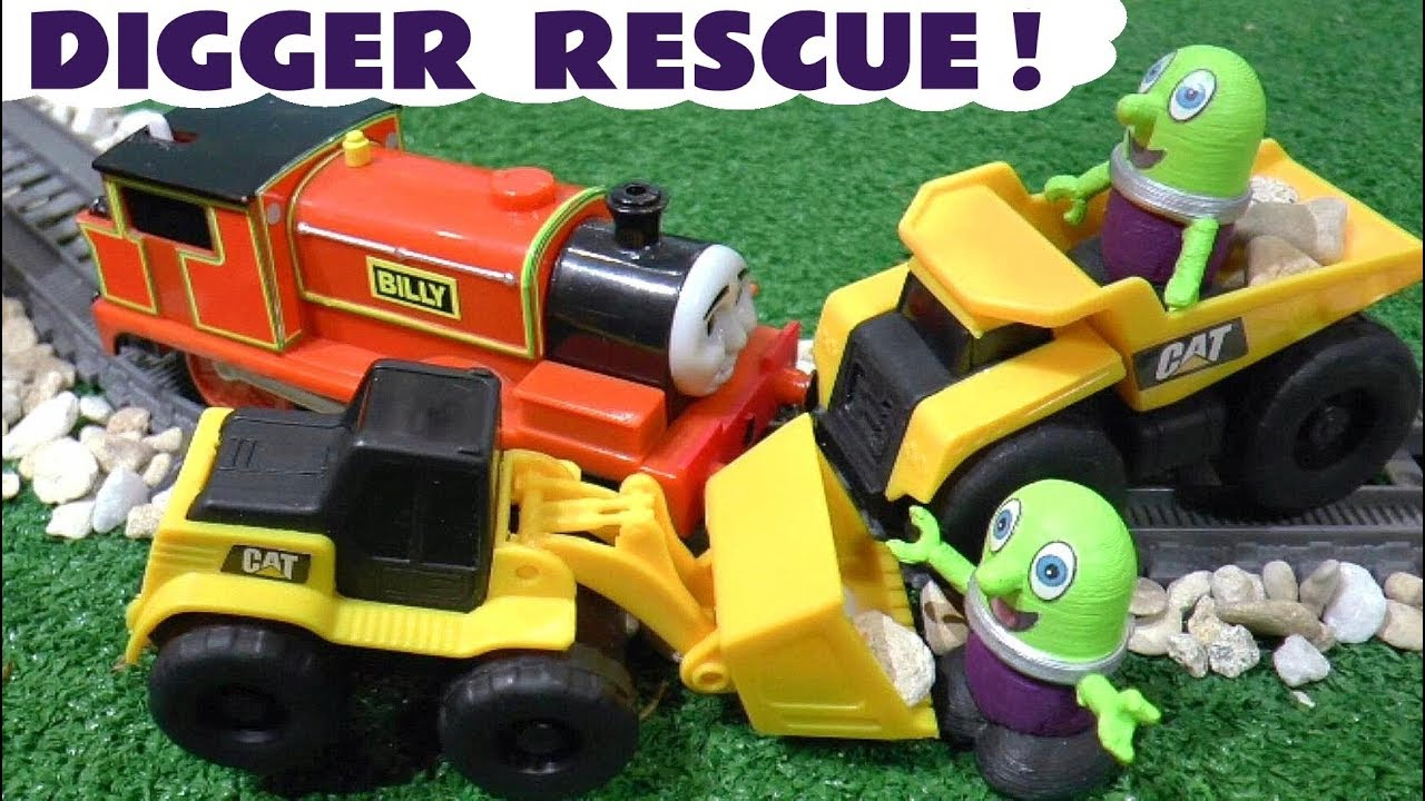 Thomas and Friends Rescue by CAT Excavator and Dump Truck Vehicles with funny Funlings TT4U