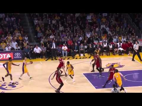 Huertas Hides Behind Spoelstra for the Steal Heat vs Lakers 2016