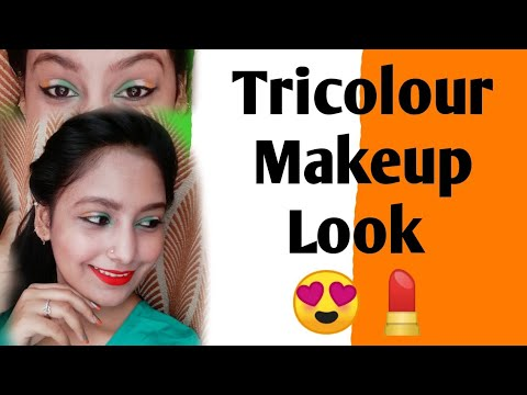 Tricolor makeup look with music flower foundation step by step tutorial in Hindi