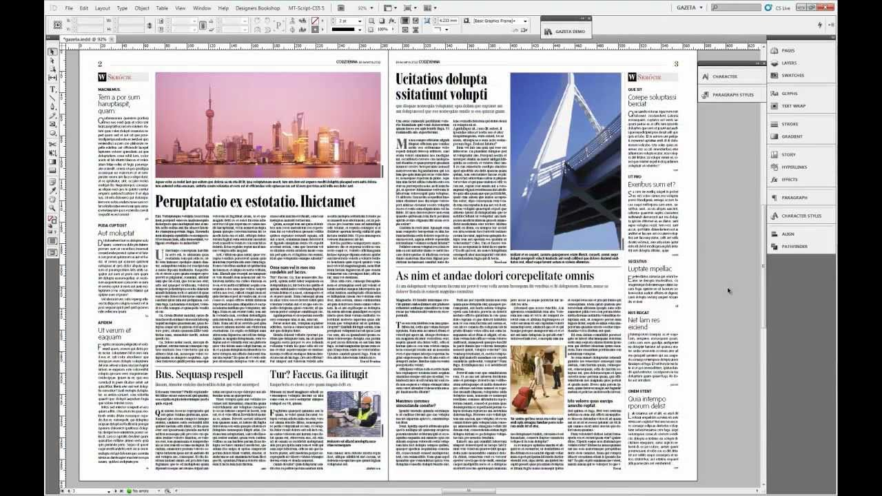 InDesign CS 5.5, skład gazety, setting newspaper - YouTube