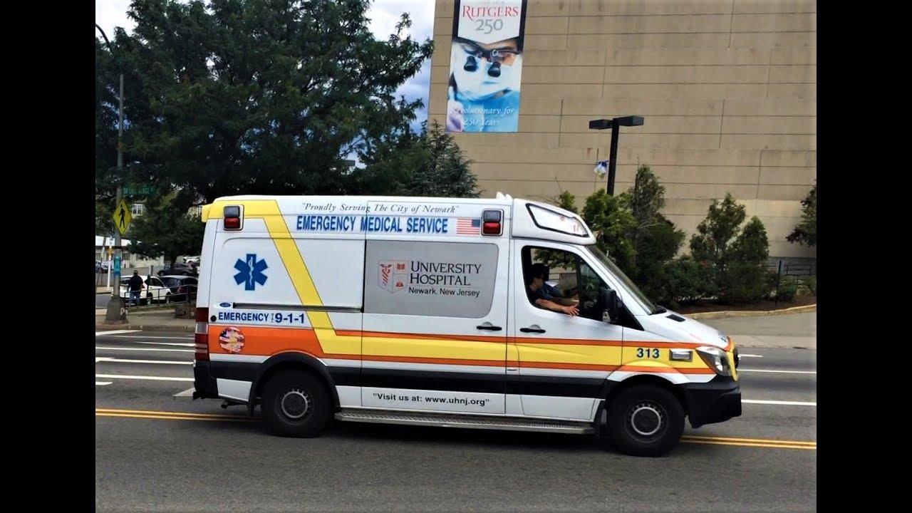 University Hospital EMS 313 Responding on Bergen St Newark, NJ in front of  University Hospital