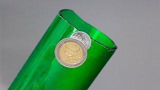 Как разрезать бутылку монетой ? / HOW TO CUT GLASS WITH A COIN?