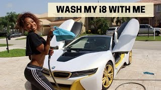 WASHING MY BMW I8 | dymondheartsbeauty