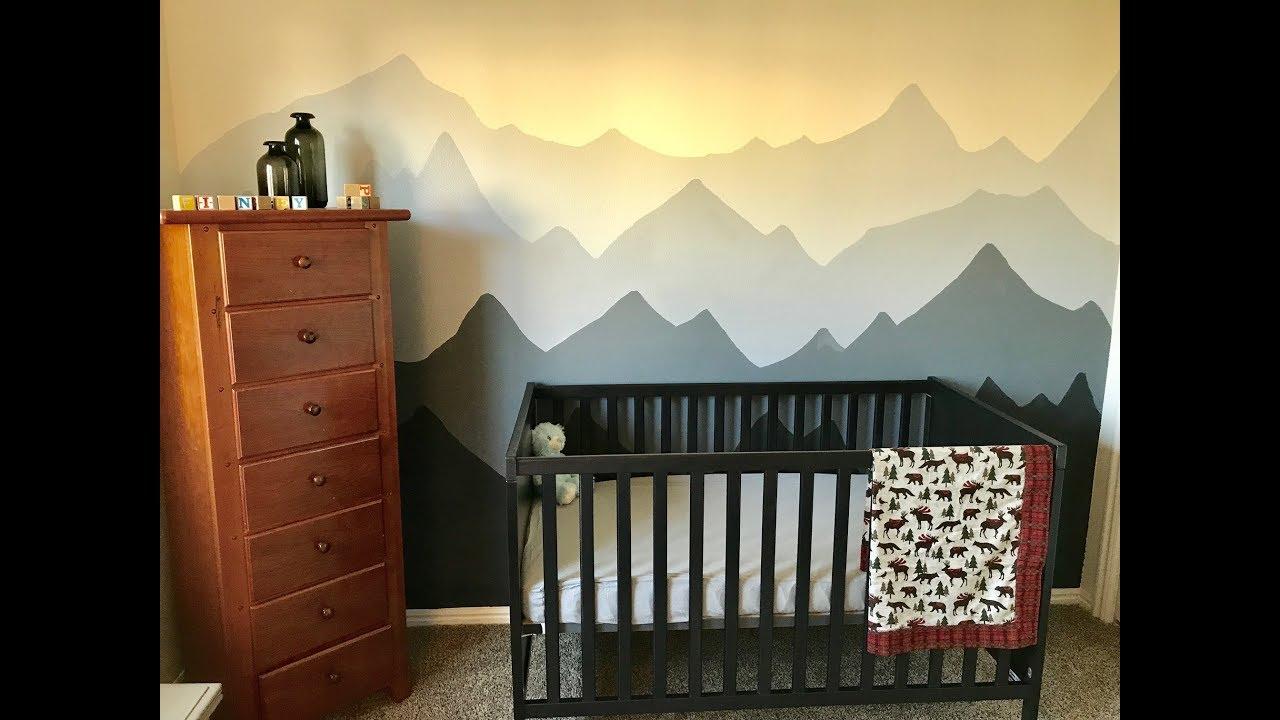 Nursery Mural Time lapse! DIY Mountain Mural for Baby Finn!