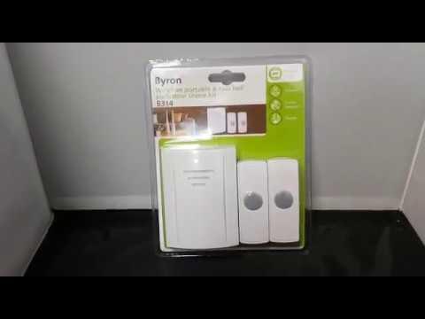 Byron B314 50m Wireless Portable Door Chime Kit with 2 Sounds and 2 Bell Pushes & Byron B314 50m Wireless Portable Door Chime Kit with 2 Sounds and 2 ...