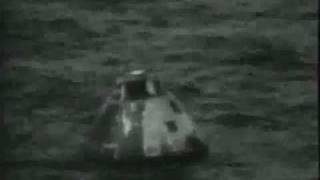 Apollo 13 re-entry and splashdown as seen live on tv