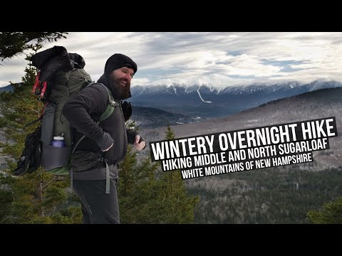 Wintery Overnight Camping | Hiking Middle And North Sugarloaf | Hiking The White Mountains