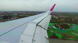 WIZZ Air Airbus A321 WING VIEW Landing at Bucharest Otopeni Airport | Seat 23F