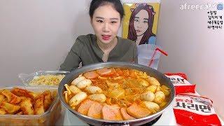 집밥 김치찌개 or 부대찌개 새우볶음밥 라면사리 먹방 Mukbang eating show