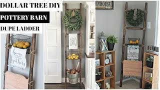 DOLLAR TREE FARMHOUSE LADDER DIY POTTERY BARN DUPE ROLLING PIN HACK