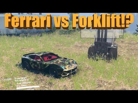 Spin Tires Ferrari F12 vs Forklift!?