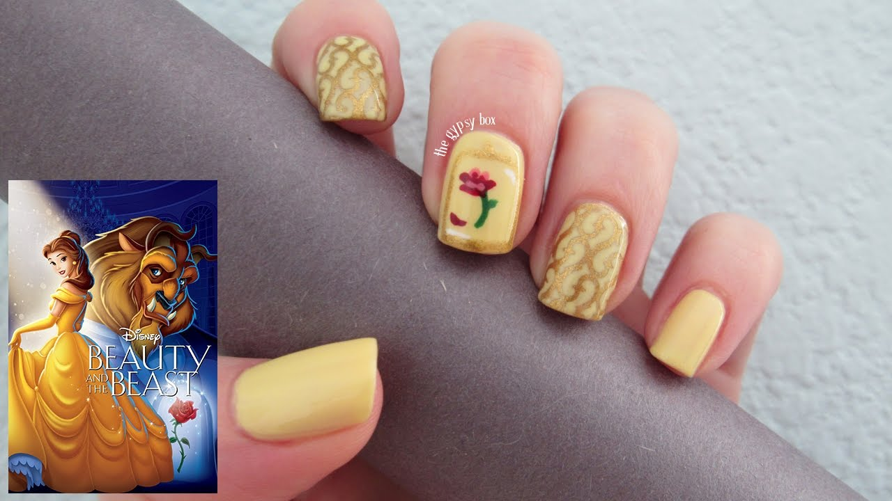 Beauty And The Beast Nail Art Design Thegypsybox Youtube