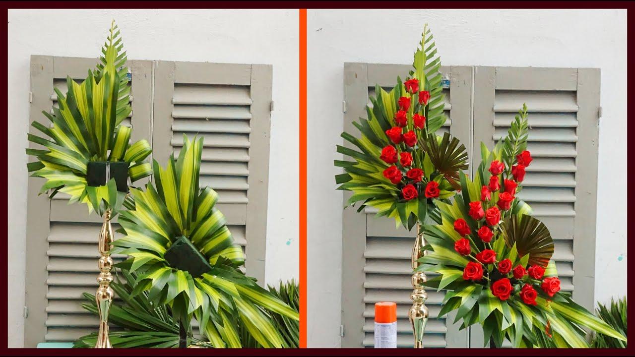 Cắm hoa hồng 2 tầng với phương pháp ghép bình _ Mẫu Cắm hoa phụng vụ
