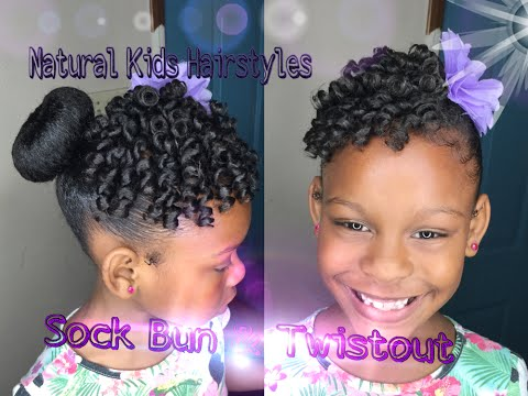 Kids Natural Hairstyle: Sock Bun & Defined Twistout with Rollers