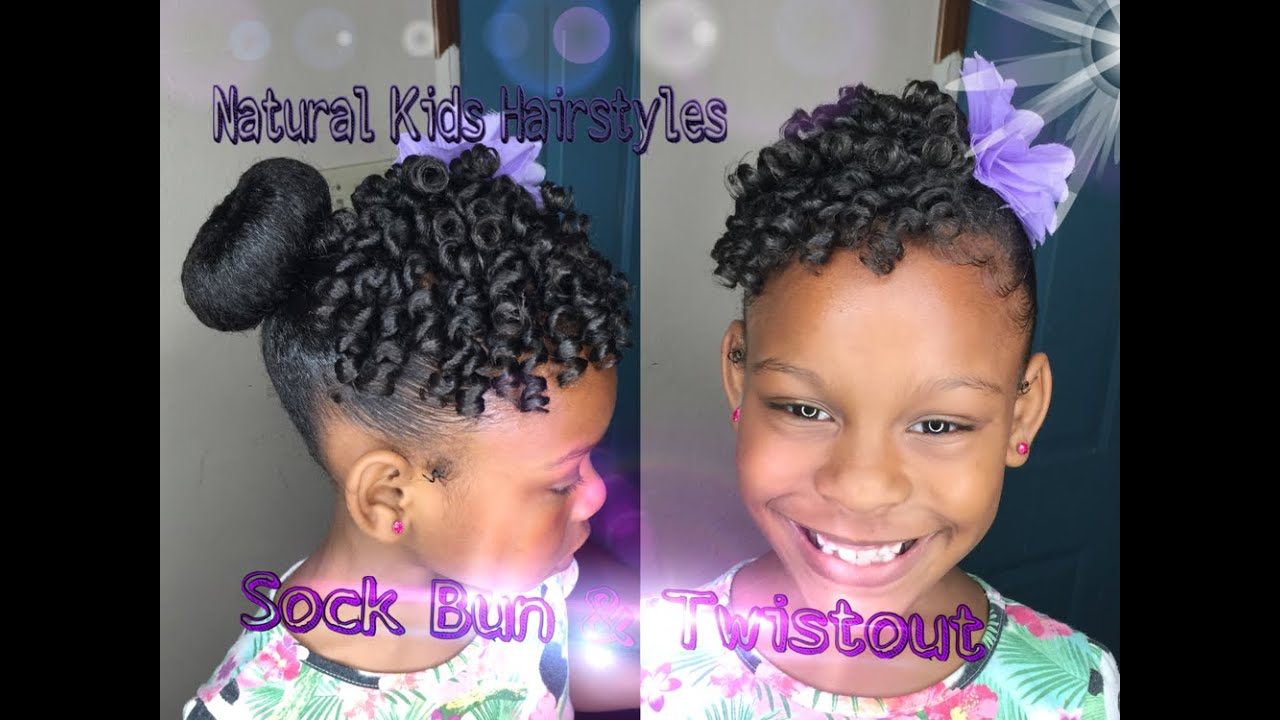 Kids Natural Hairstyle: Sock Bun & Defined Twistout with Rollers ...