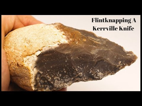 Flintknapping A Kerrville Knife - Aka - Butted Knife - Ancient Native American Technology.