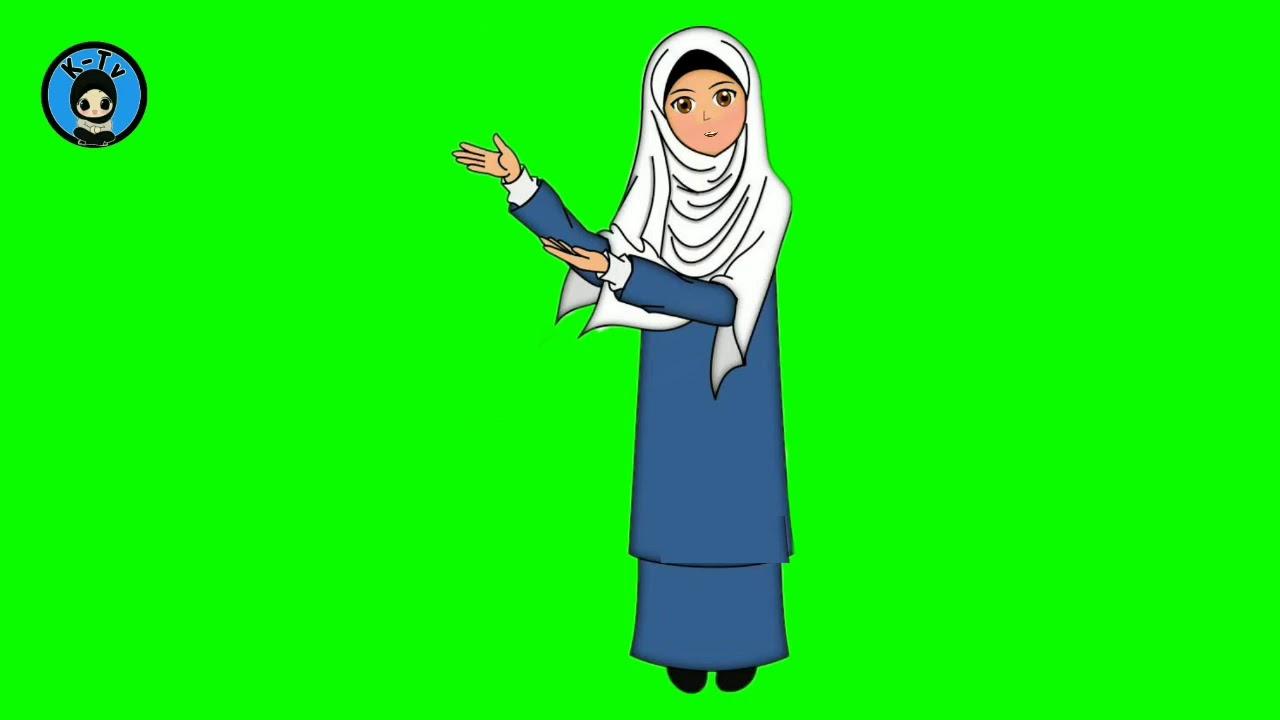 Green Screen Animasi Kartun Muslimah Animasi Mulut Bergerak Youtube