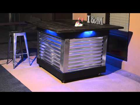 DIY Patio Bar Table with built-in drink cooler and light system