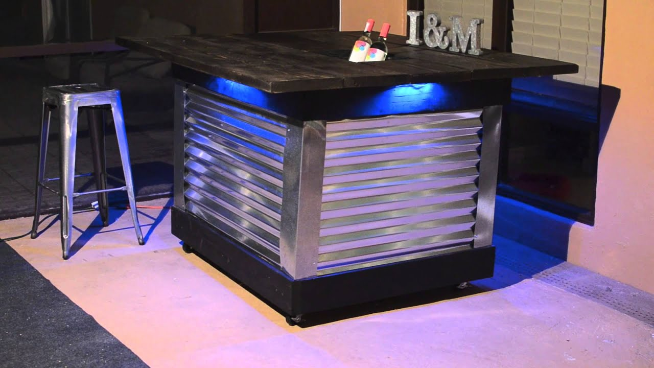 DIY Patio Bar Table With Built In Drink Cooler And Light System   YouTube