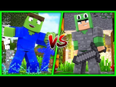 Minecraft - WATER VS STONE ARMOUR CHALLENGE!