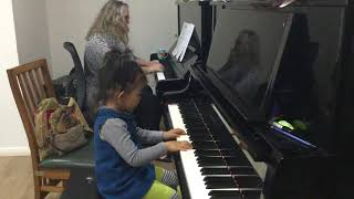 4 year old Jasmine working on Musical Dialogue by Alexander Peskanov