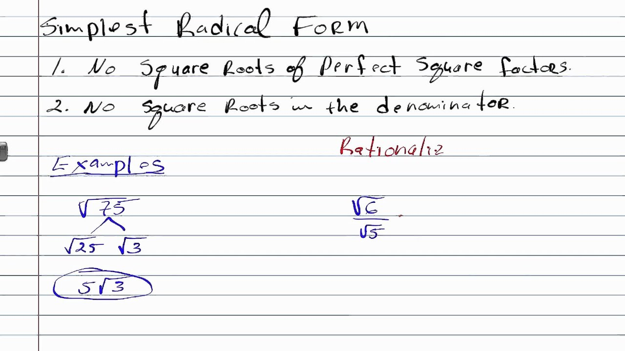 Writing Expression In Simplest Radical Form Geometry How To Help
