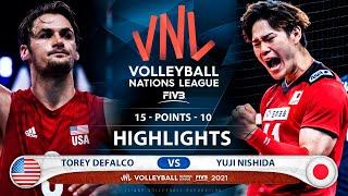 Usa vs Japan   VNL 2021   Highlights   Torey Defalco vs Yuji Nishida