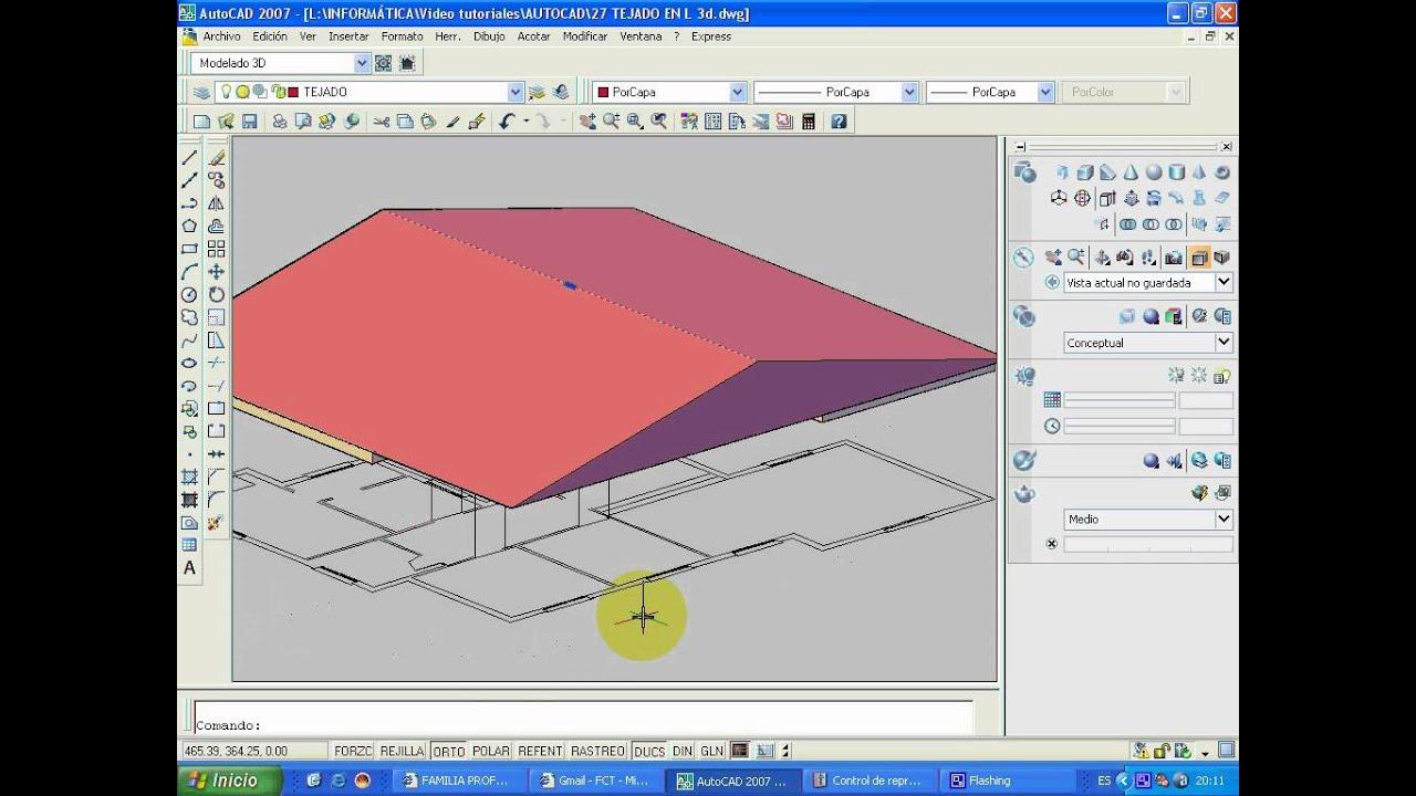 Worksheet. CURSO DE AUTOCAD 3D Video 4 Tejado a dos aguas 3d  YouTube
