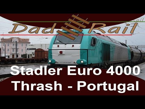 Portugal Stadler Euro 4000 Locomotive thrashes out of Pampilhosa.