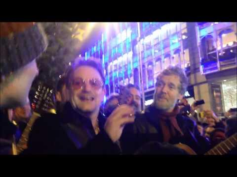 Bono and Glen Hansard performing in Dublin on Christmas Eve 2013 (Full)