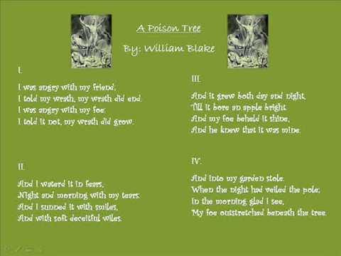 a poison tree: poetry prescription essay Blake portrays this by using several forms of figurative language the personification in a poison tree exists both as a means by which the poem's metaphors are revealed, supported, and as a way for blake to project the greater illustration of wrath.