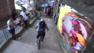 REDBULL downhill MTB bike race in Brazilian favela