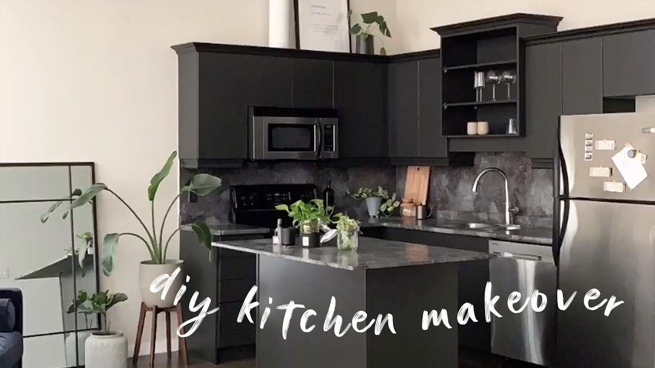 Diy Modern Black Kitchen Stone Contact Paper Painting Cabinets Youtube