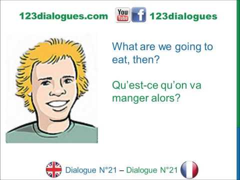 Dialogue 21 - English French Anglais Français - I'm hungry - J'ai faim - Food Meals vocabulary