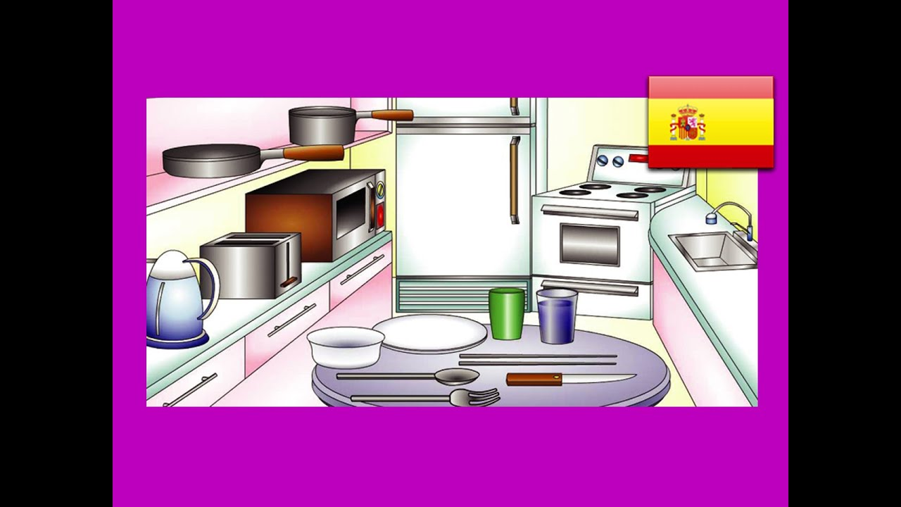 """""""In the Kitchen"""" (Spanish Lesson 15) CLIP – Espanol Learning, Food Words,  Cocina Vocabulario, Kid"""