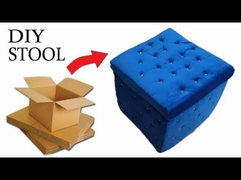 Make Sitting Stool From Reusing Waste Cardboard| Stool made from Cardboard| DIY Stool| Foot Stool