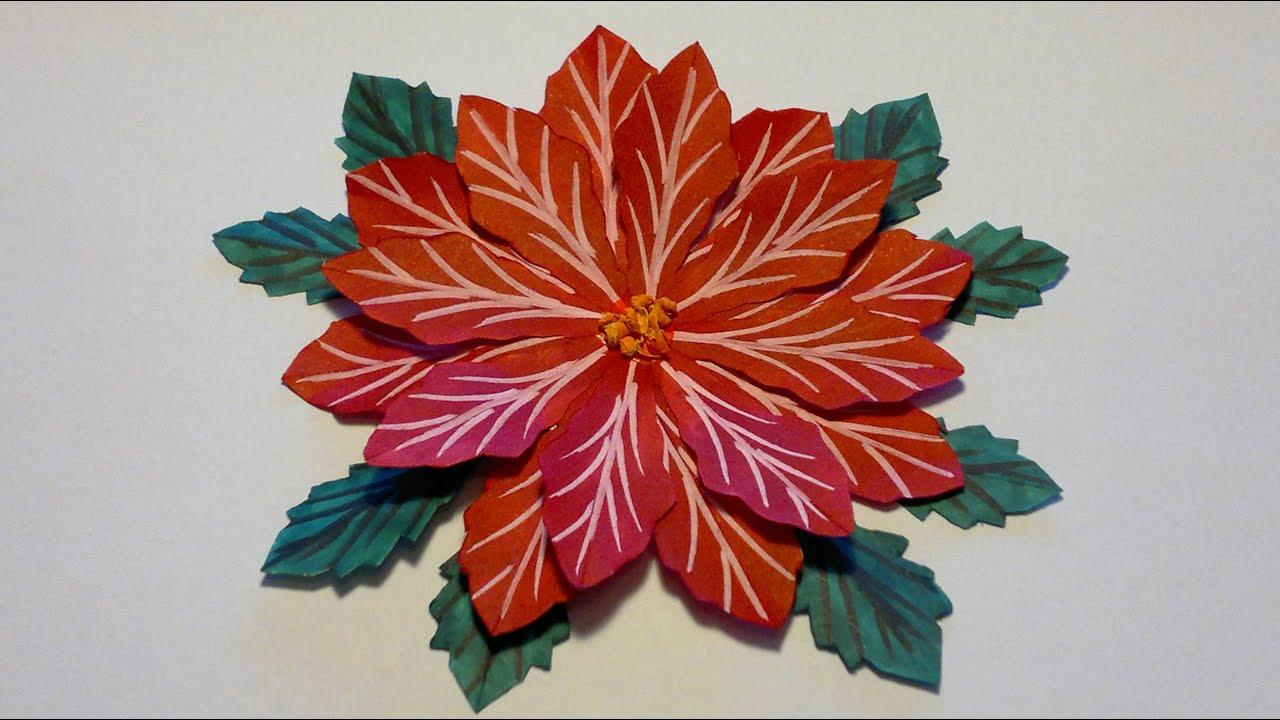 DIY Julestjerne blomst af papir ~Poinsettia Christmas in July