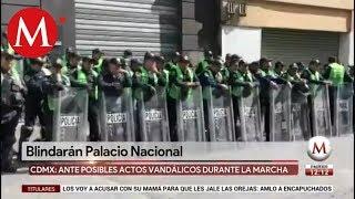 Policía Militar se prepara en Palacio Nacional ante marcha de 2 de octubre