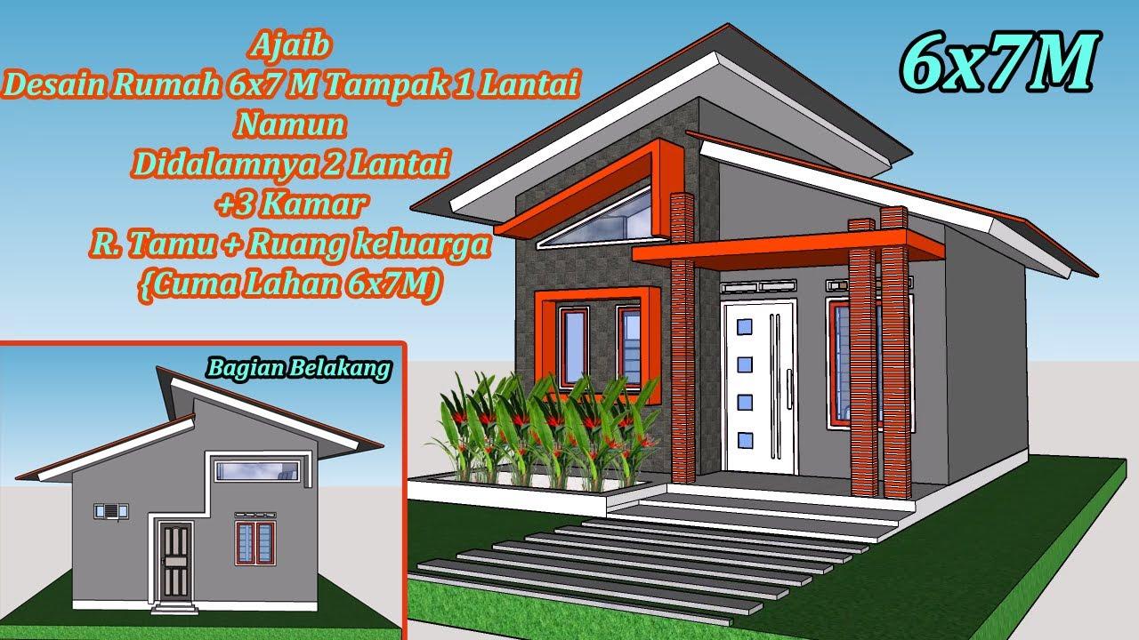Ajaib Desain Rumah Ukuran 6x7 M 3 Kamar Terlihat 1 Lantai Tapi Dalamnya 2 Lantai Youtube