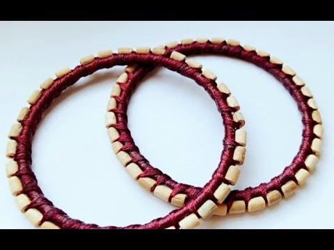 DIY classic Wooden Beads Silk Thread Bangles 2019