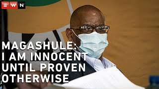 Following his second appearance at the Bloemfontein Magistrates court, ANC secretary-general Ace Magashule said that everyone should be presumed innocent until proven otherwise. The corruption case against Magashule was postponed and will be heard again in the Bloemfontein High Court in August.