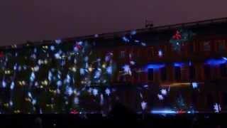 Лазерное шоу на Дворцовой площади Петербурга