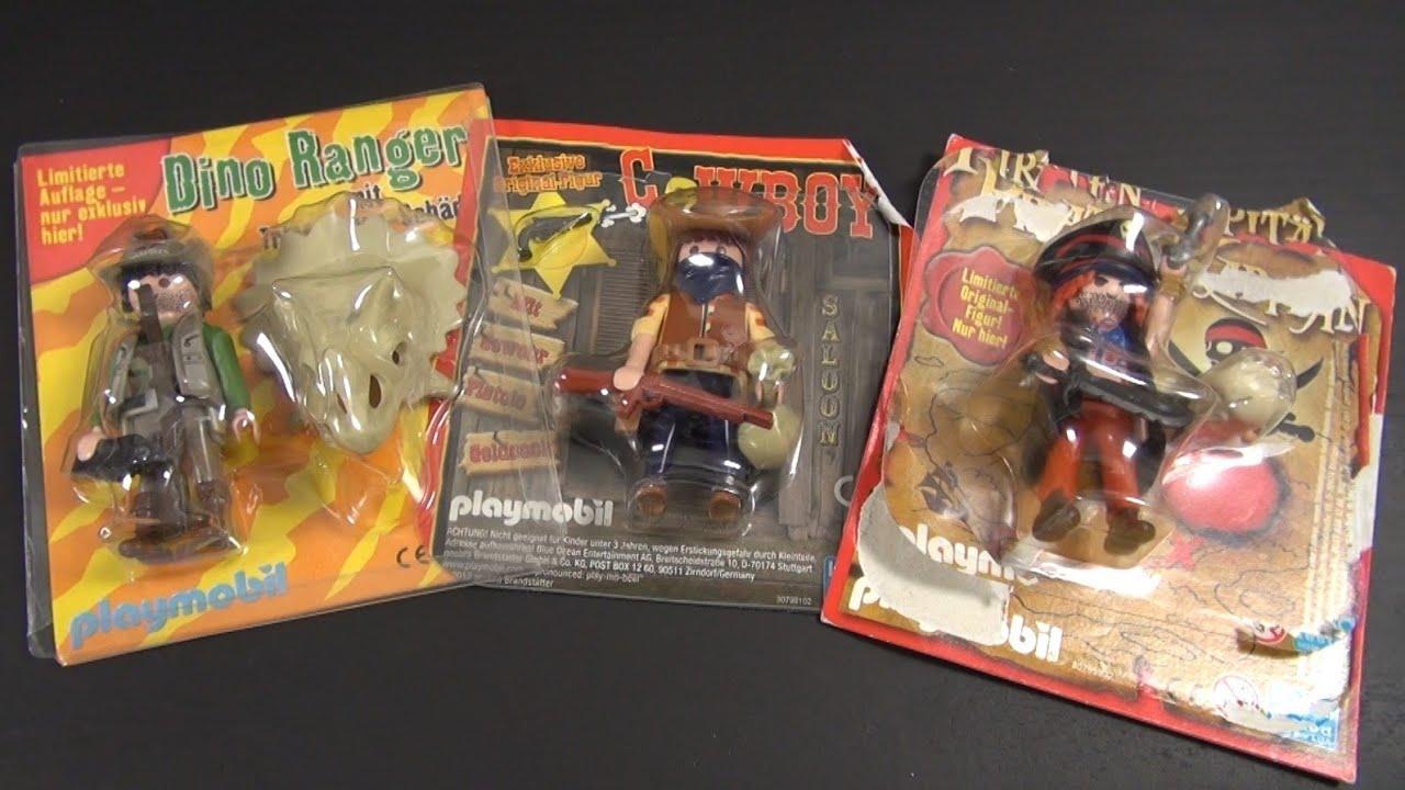 128c60674a8 3 x Playmobil - Pirat   Cowboy   Dino Ranger - YouTube