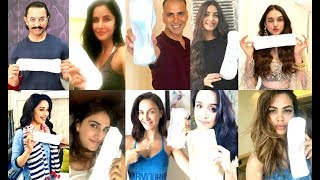 Bollywood Actress Actor Pose With SANITARY PADS For Padman Challenge