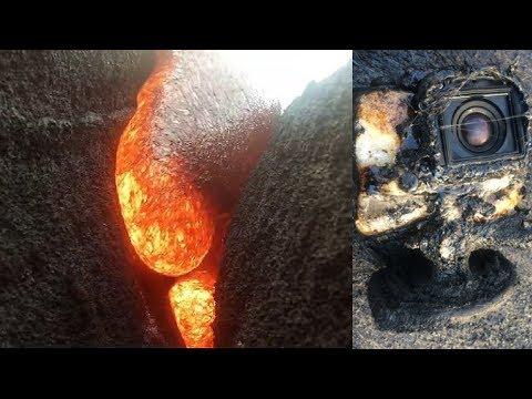 كاميرا سقطت وسط حمم بركانية وعندما اخرجوها وجدوا هذا المقطع الخيالي